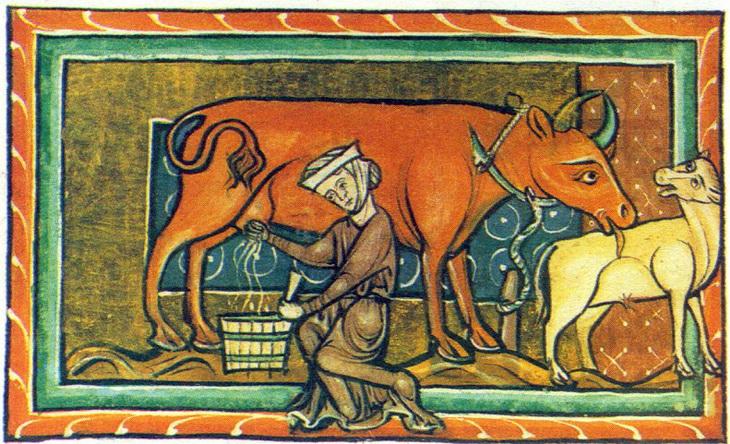 доение коровы, фреска