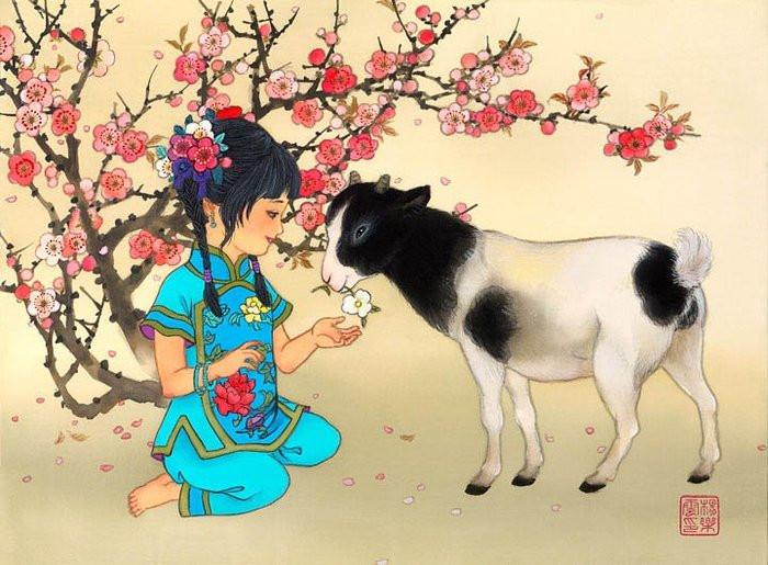 коза в цветах сакуры